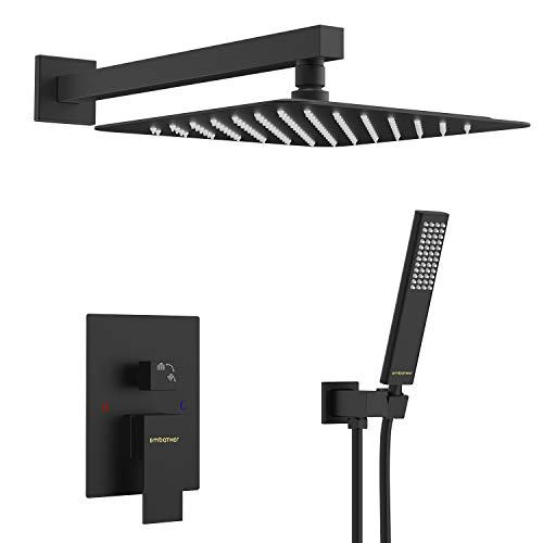 EMABATHER Black Shower System 12 Inches Mount Shower Faucet Set with Square Rain Shower Head and Handheld,Matte Black Combo Set for Bathroom(Rough-in Valve Body and Trim Included)