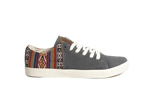 Daim À et La Chaussures Traditionnels Perús À Fabriquées et Motifs Hommes Sneakers Gamuzon Péruviens Artisanales en Éthiques pour Femmes Gris Main 8fqSwx