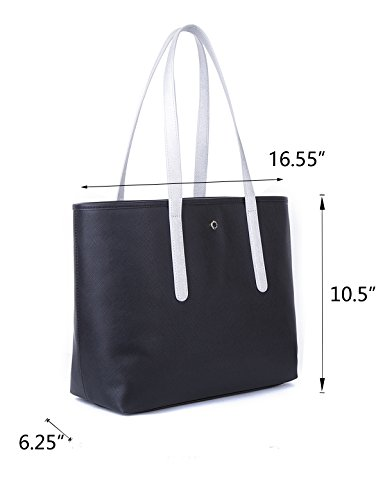 Women's wp1ptO2QWH Contrast The Handle Top Tote Tote Black Crosshatch Bag Open Lovely qRRF6wnt