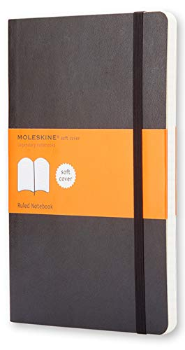 """Moleskine Classic Notebook, Soft Cover, Large (5"""" x 8.25"""") Ruled/Lined, Black, 240 Pages"""
