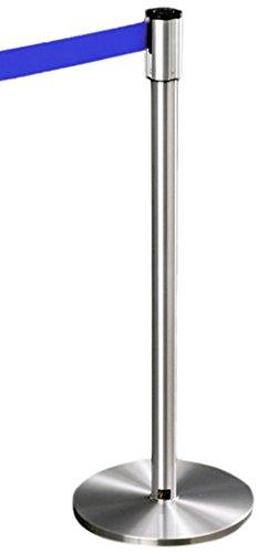 Glaro 152SA-BL 13' Retractable Belt Crowd Control Post - Satin Aluminum finish - Blue Belt by Glaro
