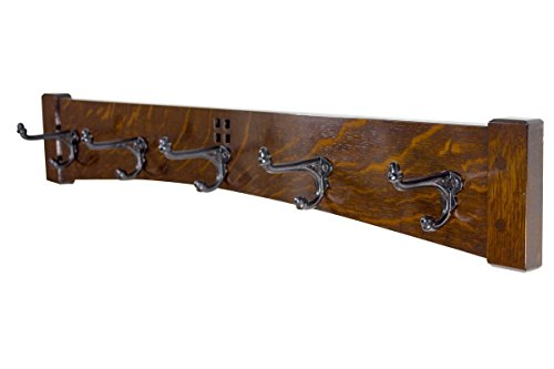 Coat Rack 30 Inch 5 Cast Iron Hook Arts and Crafts Style from Vollman Woodworking