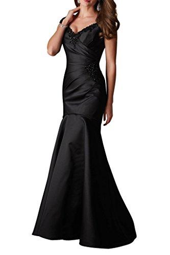 Ballkleider Geraft Abendkleider Charmant Schleppe Figurbetont mit Damen Elegant ausschnitt Schwarz V Lang Trumpet Satin TY0UnYx