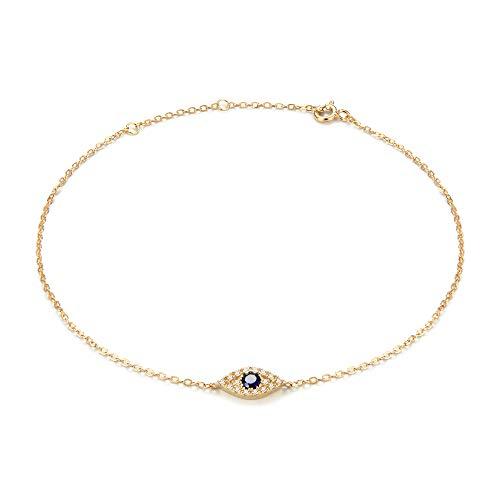 - 925 Sterling Silver CZ Evil Eye Anklet,Evil Eye Anklets for Women,14K Gold Plated Adjustable Charm Evil Eye Ankle Bracelet