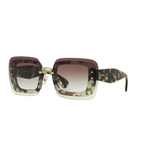 Miu Miu Green - Miu Miu MU02RS UAG0A7 Green Havana MU02RS Square Sunglasses Lens Category 2 Siz