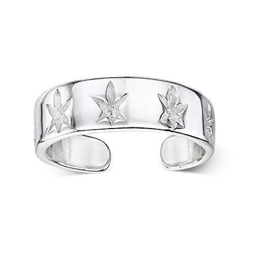 Amberta 925 Sterling Silver - Toe and Midi Ring for Women - Adjustable Fit - Design with Leaves - Internal Diameter 13 mm - Size 1 3/4