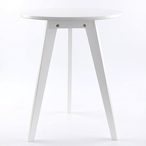 Solid Wood End Table,Modern Nightstand Round-Frame Side Table Chairside Bedside Table for Bedroom Office (19''x24'', White) (Modern Round Side Table)