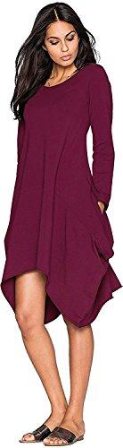 Minetom Mujeres Casual Cuello Redondo Manga Corta Vestido Bolsillos Color Sólido Hem Irregular Blusas Camisas Morado