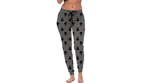 Coco-Limon Jogger Sweatpants for Women-Skull Print, Fitted, Elastic Waist,Heather Charcoal/Black,X (Skull Sweatpants)