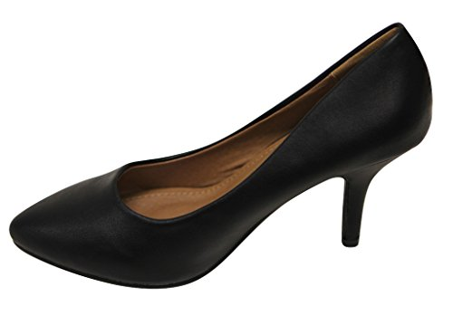 Bella Marie Tango-5 Dames Amandel Teen Klassieke Hoge Hak Stiletto Pumps Pu Schoenen Zwart