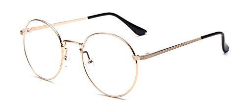 Outray Retro Round Metal Clear Lens Glasses 2136c2 Gold Frame