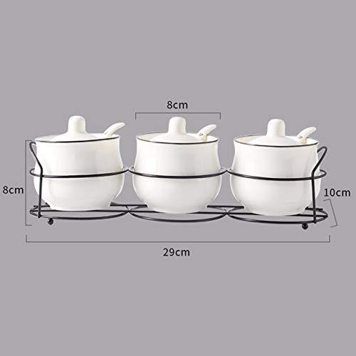 QPGGP-cruet Cerámica condimento condimento pot, pot, Pot condimento, la sal, tres piezas de aparatos de cocina para uso...