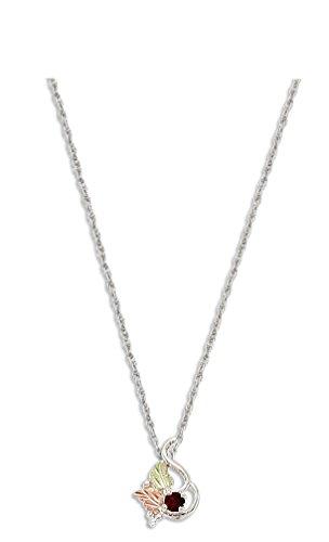 Sterling Silver 3MM Genuine Idaho Garnet Black Hills Pendant