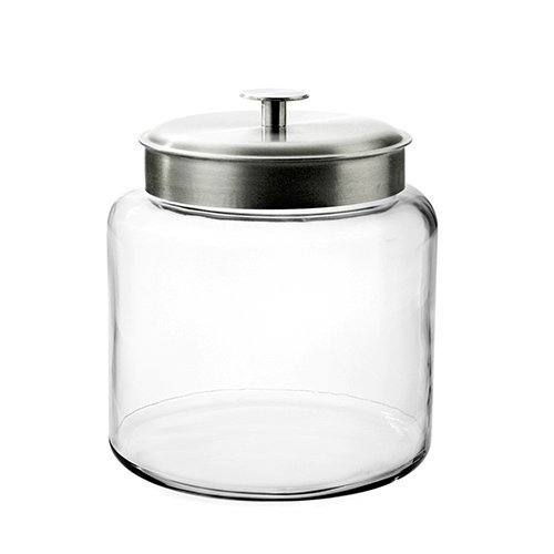 Mushroom Canister Set - Anchor Hocking Montana Glass Jar with Fresh Sealed Lid, Brushed Metal, 1.5 Gallon
