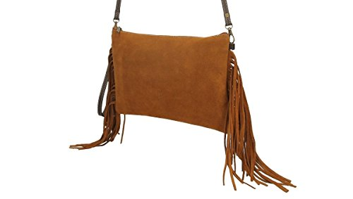 Leather Anther Both In Made And Bag Made Fringes 1st Sides On Zipper Bag Of Of 30x3x19 Unhooked The Color Shoulder Hand Handles Quality Leather Spain Suede fqwfrTO