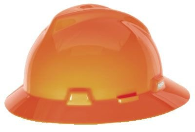 MSA Safety 10021292 Polyethylene V-Gard Protective Hat with Fas-Trac Suspension, Hi-Viz Orange