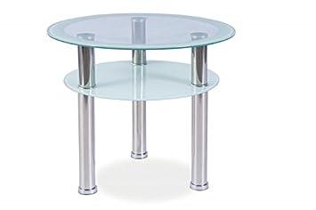 Glastisch rund  Glastisch 'Pedro D' Couchtisch Chrom Glas 60x60 Höhe 50cm Rund ...