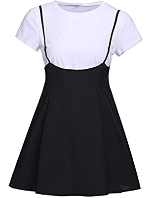 Topekada Women's Adjustable Strap High Waist Flared Mini Skater Skirt
