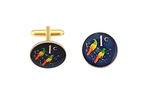 South Africa Love Birds Coin Cufflinks by Cufflink Aficionado