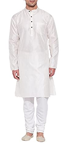 Emerald Ivory Faux Silk Kurta for Men - Men's Indian