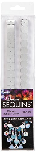 Darice Silver Ribbon - Darice SEQ707D Sequin Ribbon, 36-Inch, Silver, 2-Pack