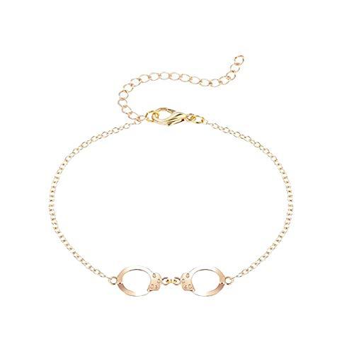MANZHEN Love Handcuff Anklet Fashion Women Adjustable Beach Style Foot Bracelet (gold)