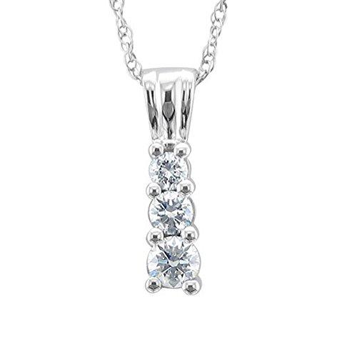 10k White Gold 3-Stone Journey Diamond Pendant Necklace (1/4 (3 Stone Gold Necklace)