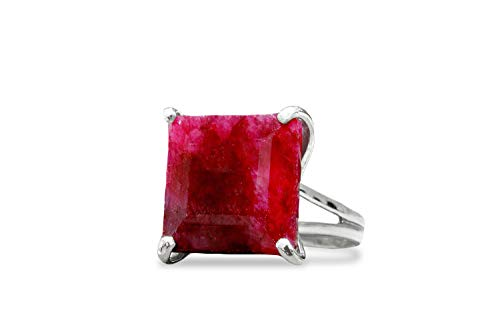 Anemone Jewelry Sophisticated Ruby Birthstone Ring - Natural 16x16mm Ruby in 925 Sterling Silver - Ruby Ring for All Occasions - Handmade July Birthstone Jewelry [Free Fancy Gift Box]