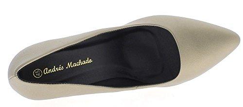 ChaussMoi Zapatos Tamaño Grande Oro Tacón 12 cm Cuero Brillante Mirada
