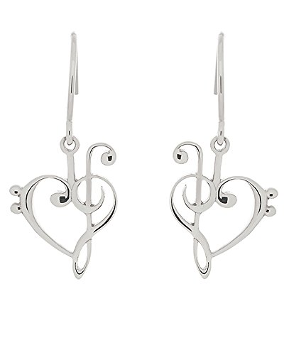 .925 Silver Treble and Bass Clef Hook Earrings.  ()