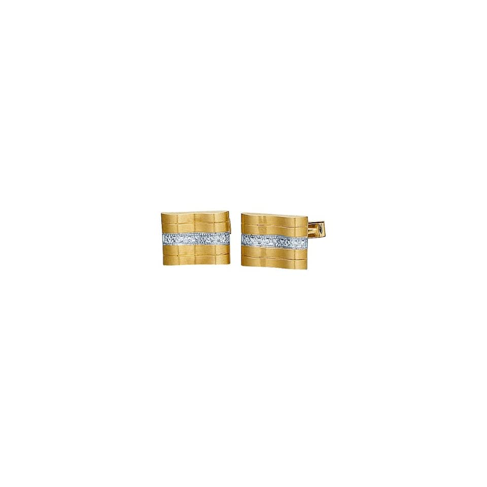 14K Yellow Gold & diamond Cufflinks Shine