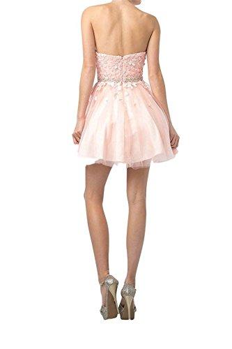 Festlichkleider Abendkleider La Ballkleider Braut Traegerlos Rosa Promkleider Cocktailkleider mia Partykleider Mini Kurzes Neu HAfxYnvqA