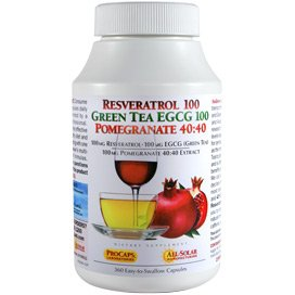 Resveratrol 100 Green Tea EGCG 100 Pomegranate 40-40 360 Capsules by Andrew Lessman