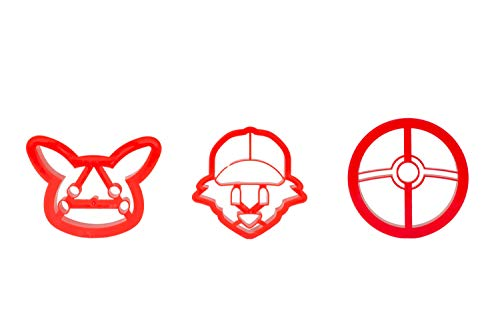 3-Pack Pokemon Cookie Cutters   Pokeball, Ash, Pikachu   Special Edition