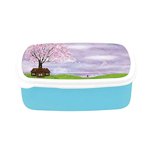 Nature Simple Plastic Lunch Containers,Single House by Blooming Spring Tree and Little Girl with Kite Idyllic picture for home,7.09