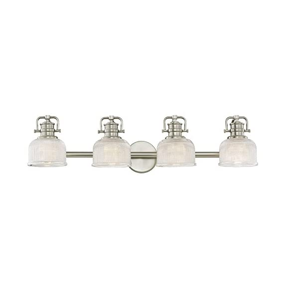 "Prismatic Glass 4-Light Bathroom Light in Satin Nickel Finish - Dimensions: 7.75""h x 33.12""l x 7.62""d Finish: Satin Nickel, Shade Color: Clear Prismatic Warranty: Fixtures, when properly installed and under normal conditions of use, are warranted to be free from defects in materials and workmanship for ONE YEAR from date of sale. - bathroom-lights, bathroom-fixtures-hardware, bathroom - 31RVG0zrK2L. SS570  -"