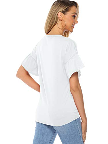 Florboom Women's Summer Loose Blouse Button Down T Shirt (White, L)