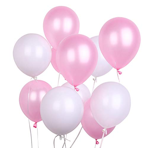 PuTwo Balloons 100 Pack 12 Inch Pink White Kids Birthday Party Supplies Wedding Decorations Baby Shower Hen Party Accessories - Pink/White