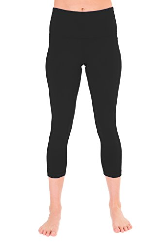 90 Degree By Reflex - High Waist Tummy Control Shapewear - Power Flex Capri Legging - Quality Guaranteed - Black Medium