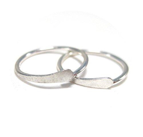 Simple Silver Cartilage Hoops, Upper Ear Piercing, Sleeper Hoops Earrings ()
