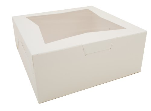 Southern Champion Tray 23073 Paperboard White Lock Corner Window Bakery Box, 12'' Length x 12'' Width x 5'' Height (Case of 100) by Southern Champion Tray