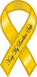 Safe Ribbon Magnet - Keep My Brother Safe Yellow Ribbon Magnet