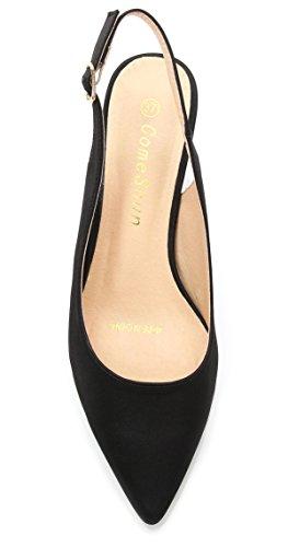 Womens Dress Kitten Slingback ComeShun Pumps Heels Shoes Black qnvRnBw8