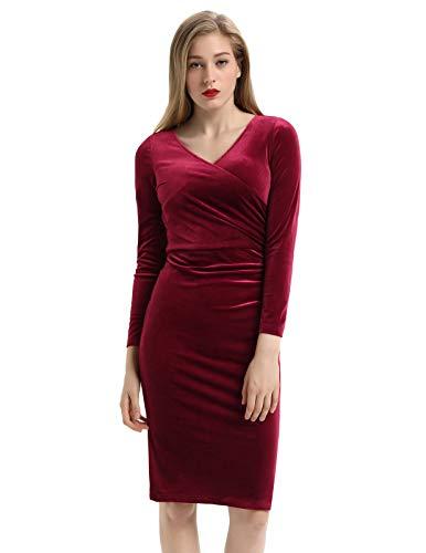 Belle Poque Women's V-Neck Long Sleeve Crossover Velvet Pencil Dress Wine Size S BP743-2
