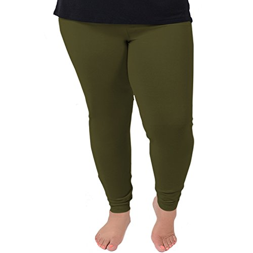 Stretch is Comfort Women's Cotton Plus Size Leggings Olive Green 3XL