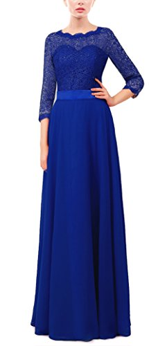 Rongstore Women's 3/4 Long Sleeves A Line Lace Prom Dresses Royal Blue US14