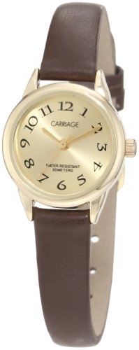 Carriage Women's C3C601 Gold-Tone Case Brown Strap - Womens Timex Carriage