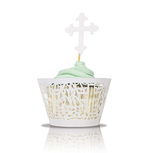 Baptism Cross Cupcake Toppers and Wrappers 60 pcs, Party Supplies for Baptism, Birthday,Christening Party, Baby Shower Decorations, DIY laser cut Cup Cake Wrappers and toppers (White) ()