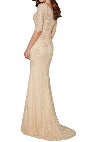 La mia V Gelb Spitze Abendkleider Champagner Hochwertig Dunkel Bodenlang Ausschnitt Braut Brautmutterkleider Etuikleider rrx70qd