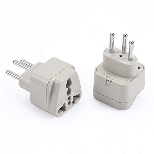 Wonpro Switzerland Travel Plug Adapter (Type J, Grounded) - CE Certified - 2 Pack